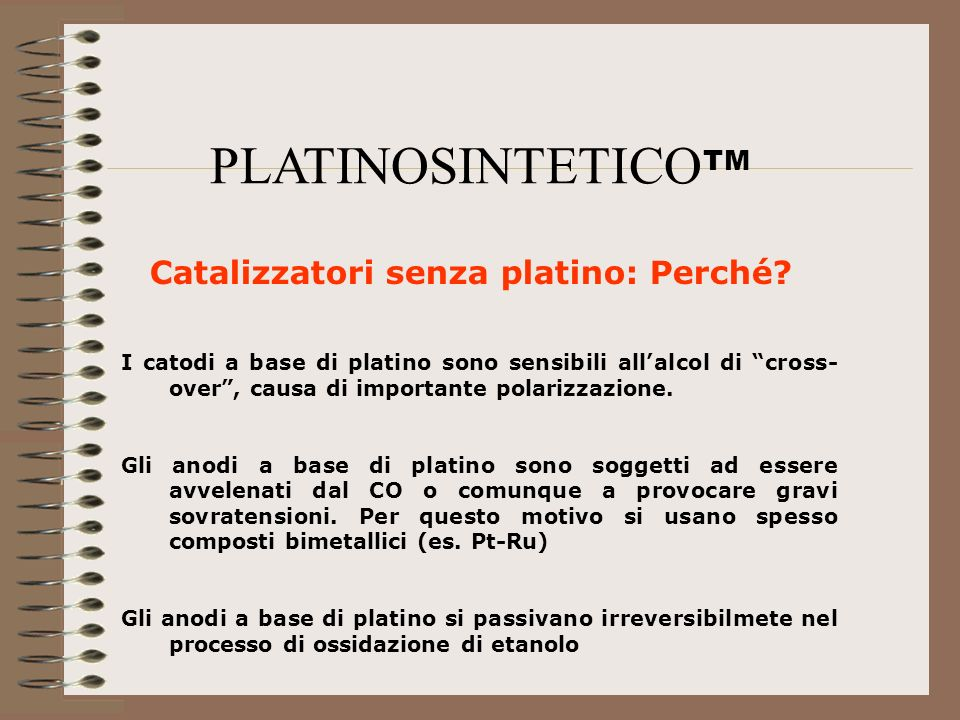 PLATINOSINTETICOTM Catalizzatori senza platino: Perché