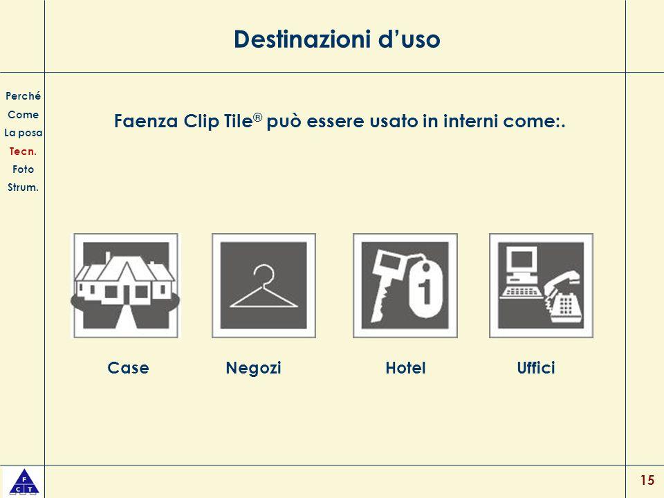 Faenza Clip Tile® può essere usato in interni come:.
