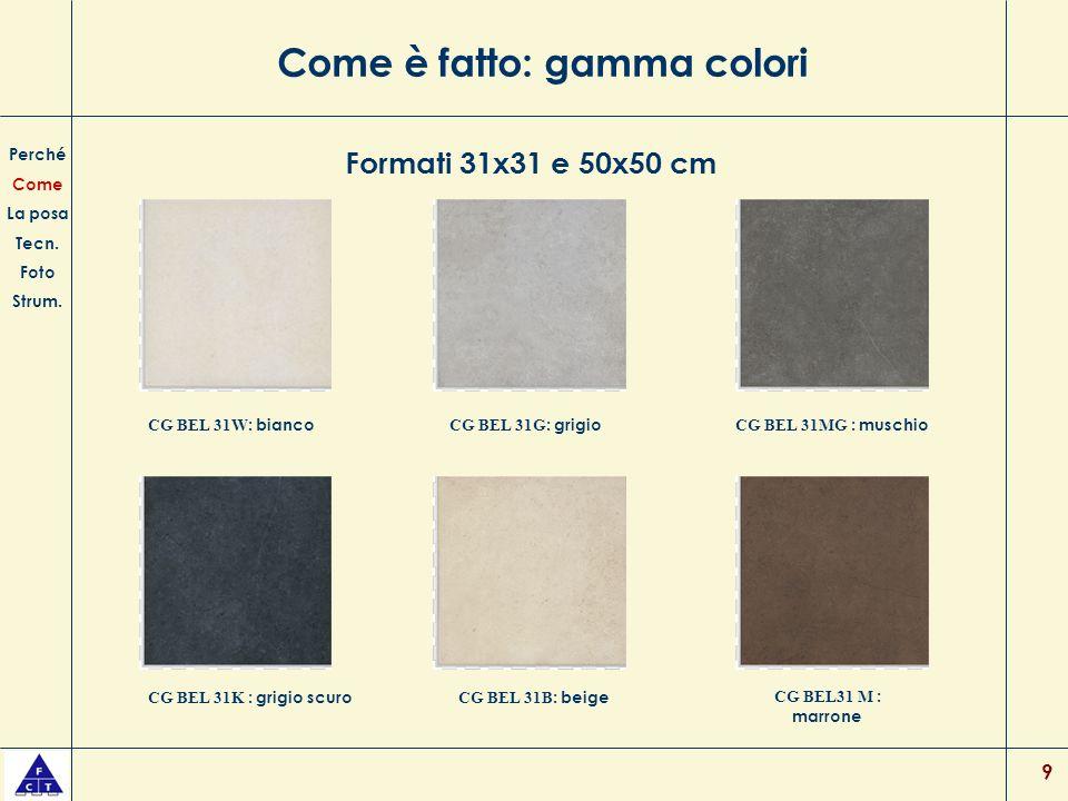 Come è fatto: gamma colori