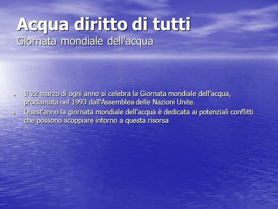 Acqua diritto di tutti Giornata mondiale dell acqua