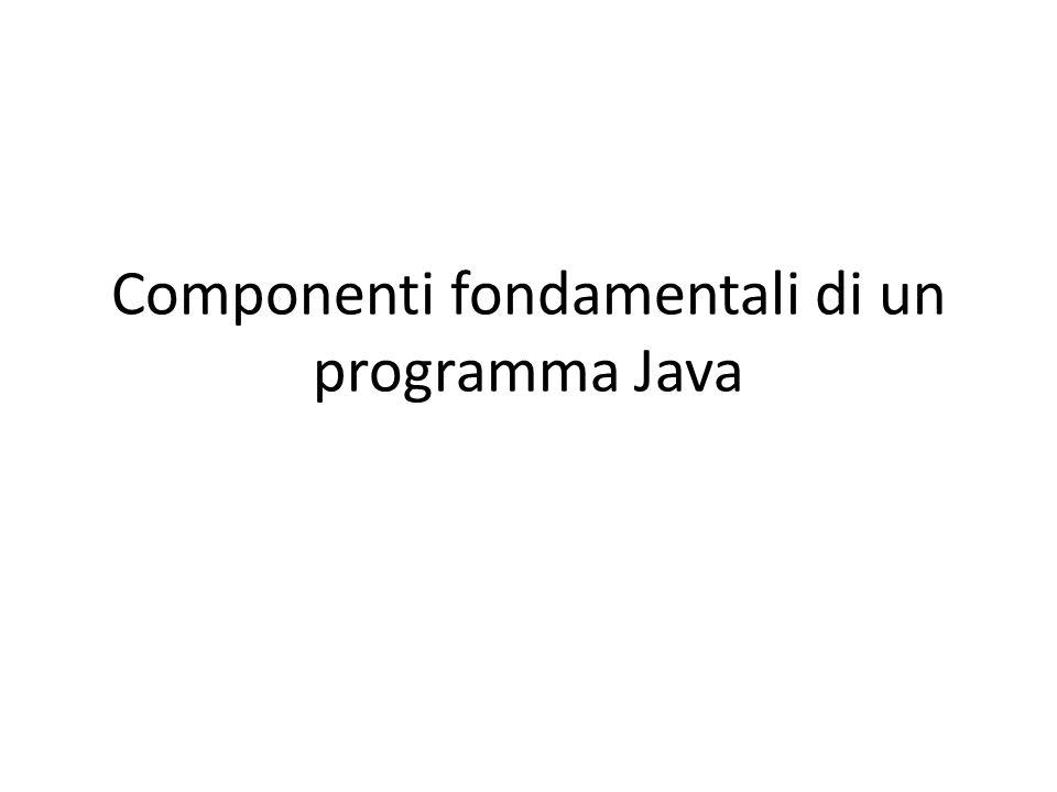 Componenti fondamentali di un programma Java