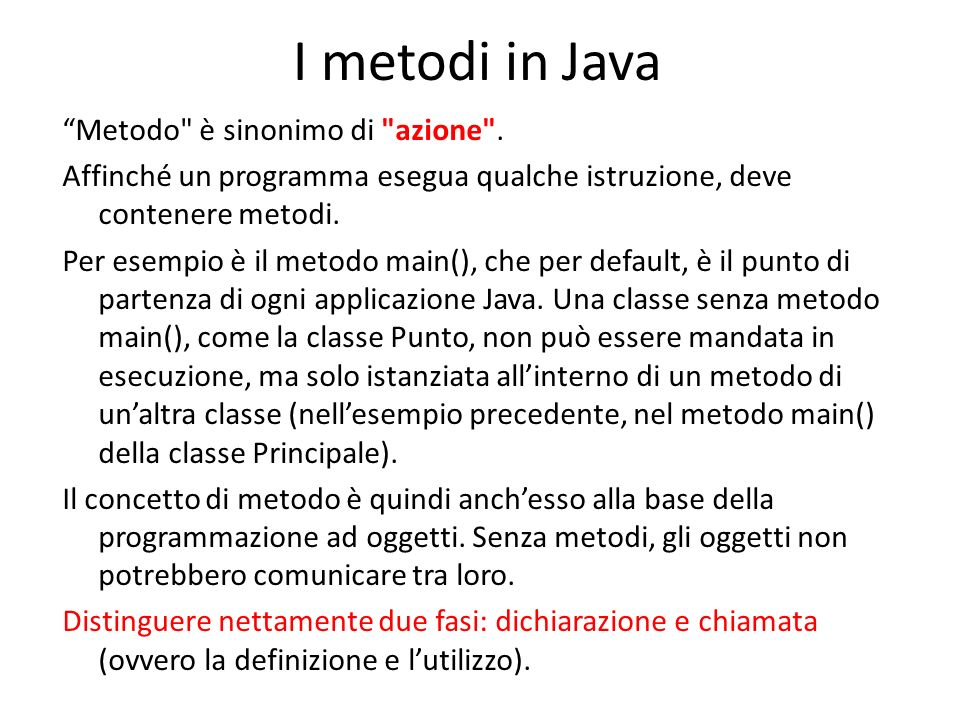 I metodi in Java
