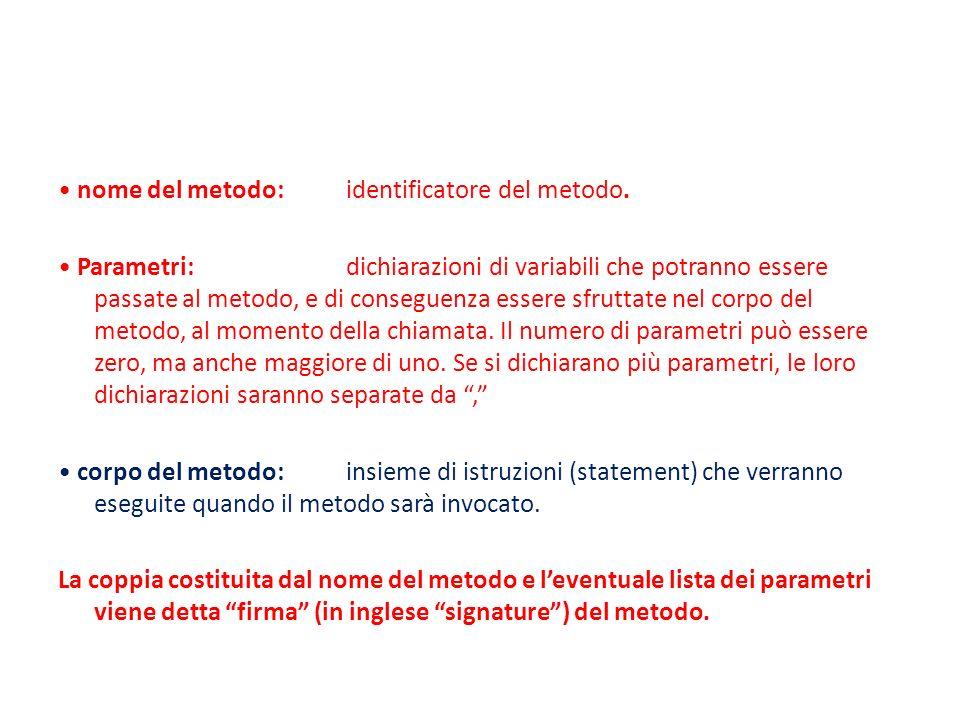 • nome del metodo: identificatore del metodo