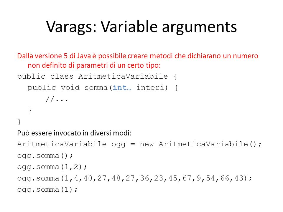 Varags: Variable arguments