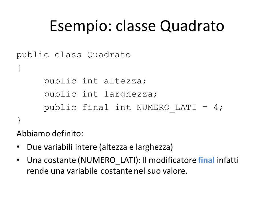 Esempio: classe Quadrato