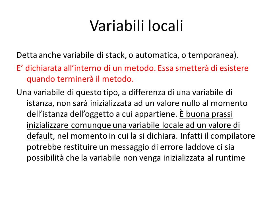 Variabili locali