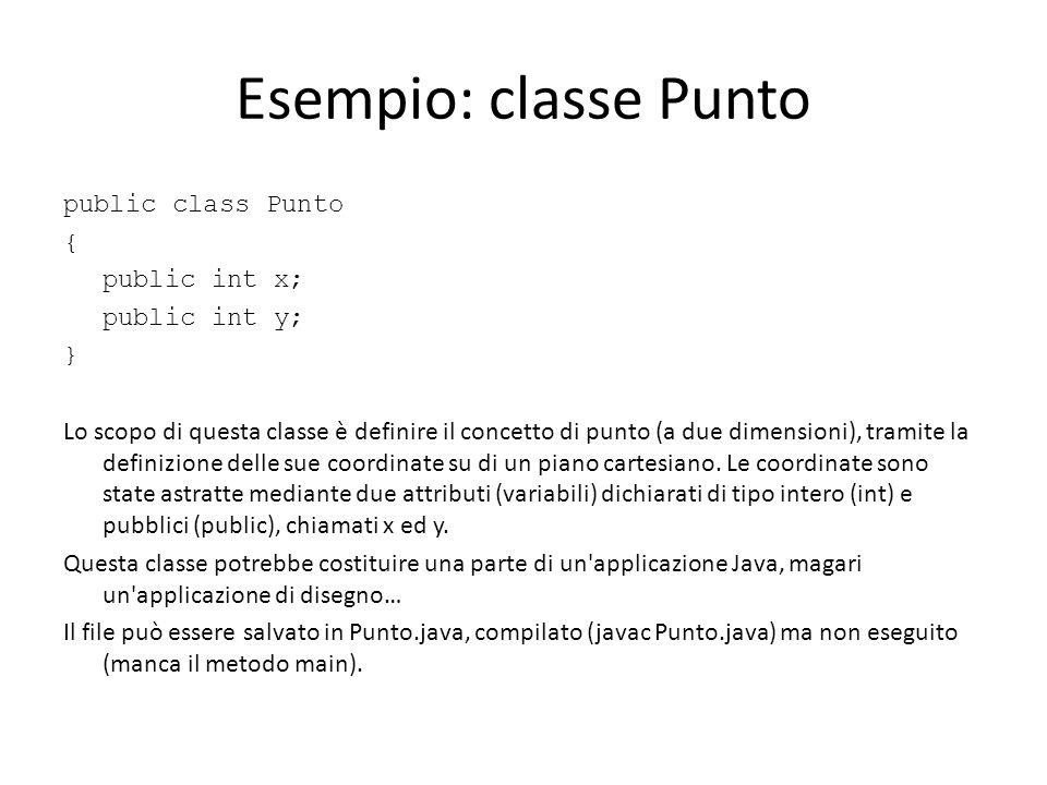 Esempio: classe Punto