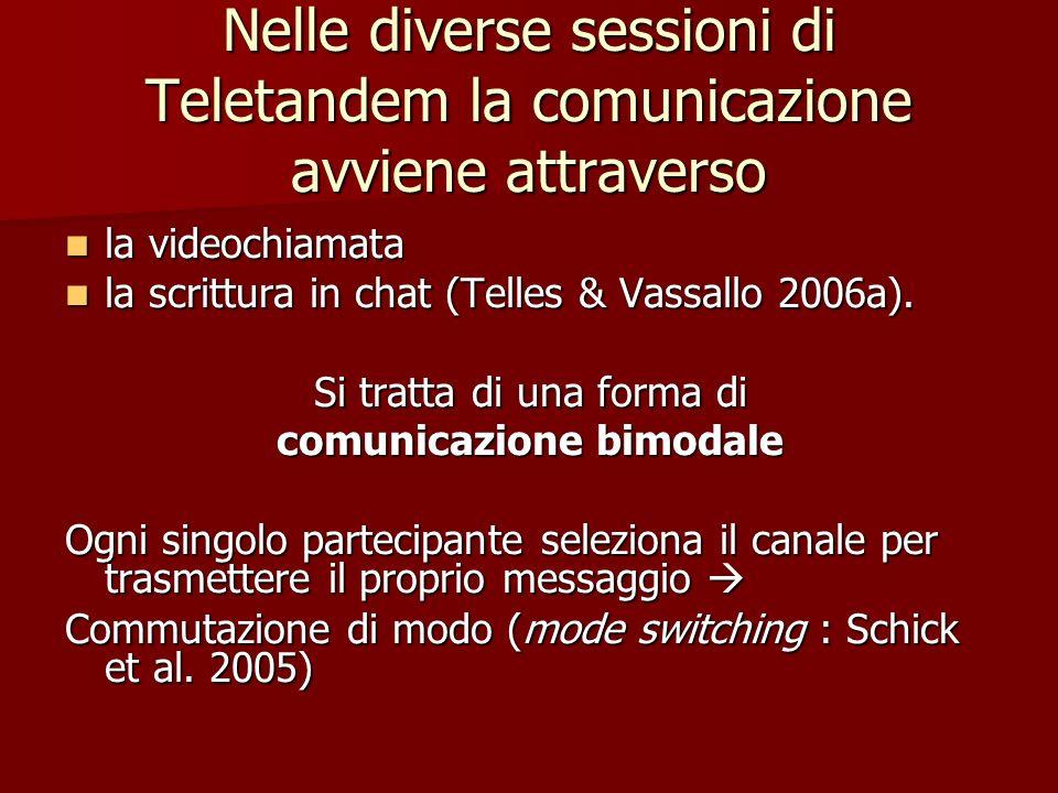 Nelle diverse sessioni di Teletandem la comunicazione avviene attraverso