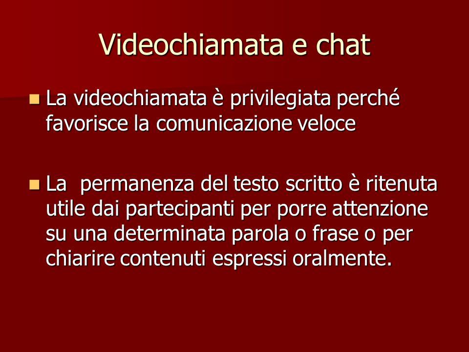 Videochiamata e chat La videochiamata è privilegiata perché favorisce la comunicazione veloce.