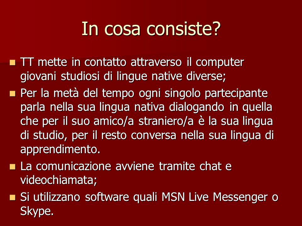 In cosa consiste TT mette in contatto attraverso il computer giovani studiosi di lingue native diverse;