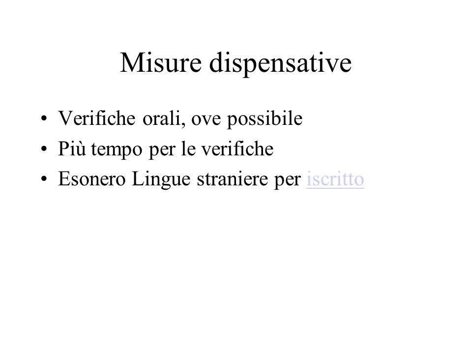 Misure dispensative Verifiche orali, ove possibile