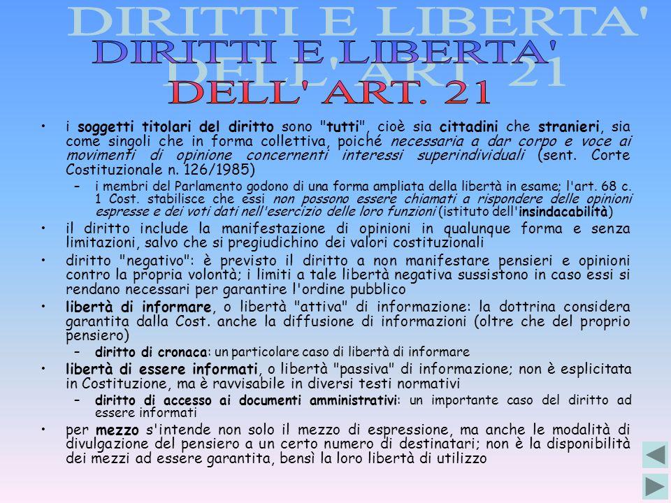 DIRITTI E LIBERTA DELL ART. 21