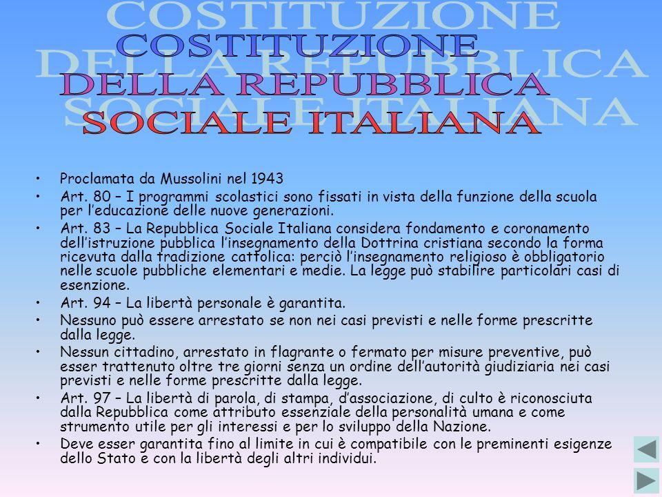 COSTITUZIONE DELLA REPUBBLICA SOCIALE ITALIANA