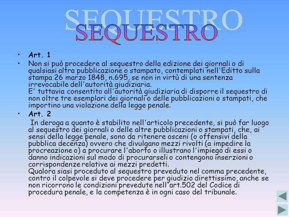 SEQUESTRO Art. 1.