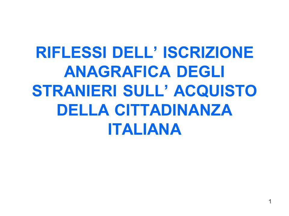 RIFLESSI DELL' ISCRIZIONE ANAGRAFICA DEGLI STRANIERI SULL' ACQUISTO DELLA CITTADINANZA ITALIANA