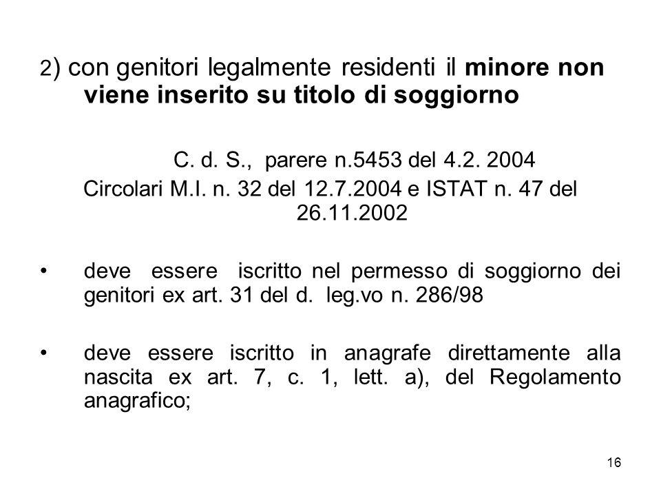 Circolari M.I. n. 32 del 12.7.2004 e ISTAT n. 47 del 26.11.2002