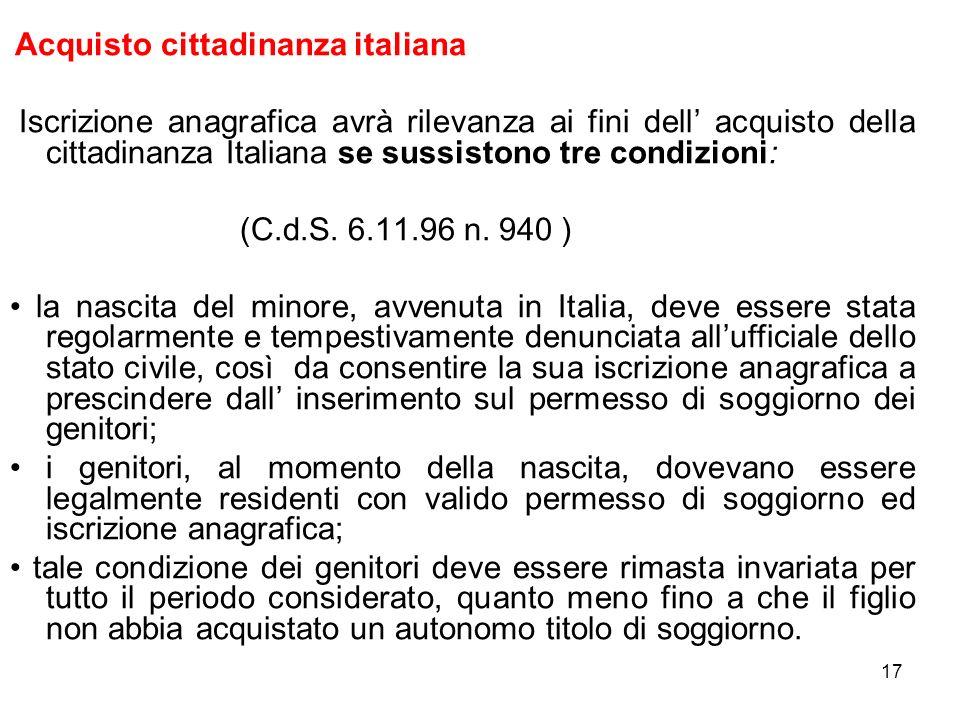 Acquisto cittadinanza italiana