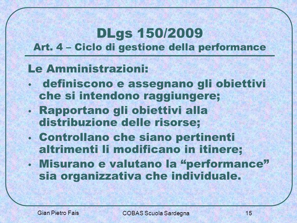 DLgs 150/2009 Art. 4 – Ciclo di gestione della performance