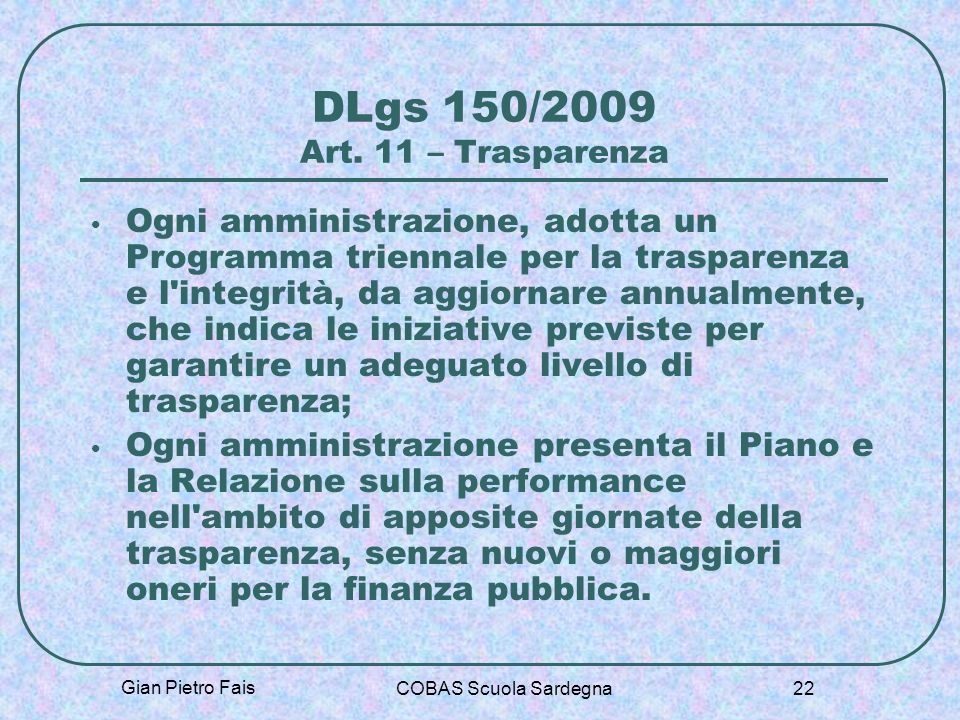 DLgs 150/2009 Art. 11 – Trasparenza