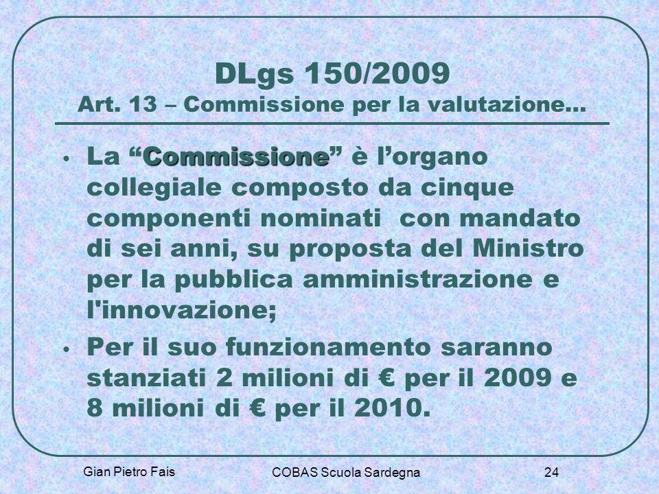 DLgs 150/2009 Art. 13 – Commissione per la valutazione…