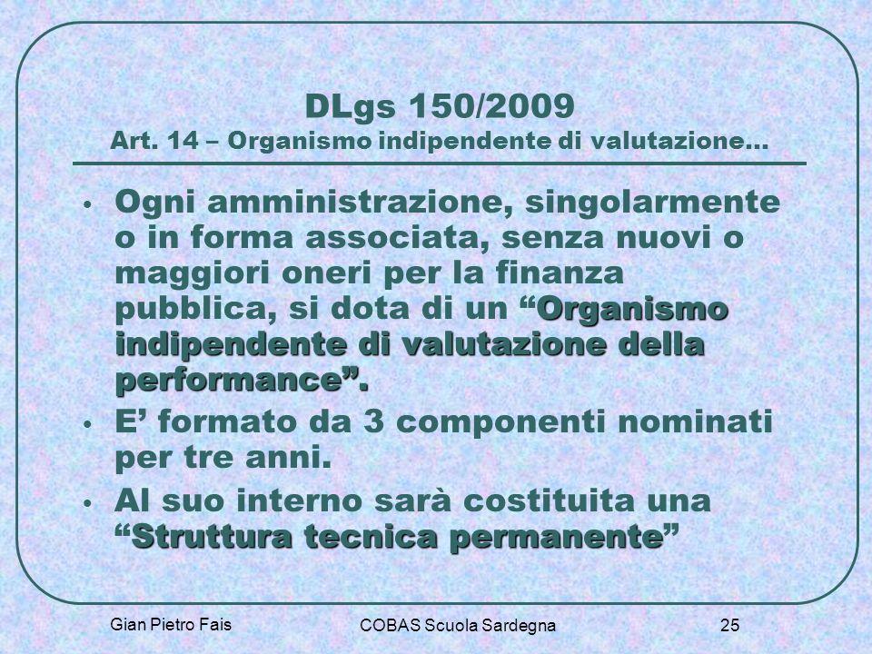 DLgs 150/2009 Art. 14 – Organismo indipendente di valutazione…
