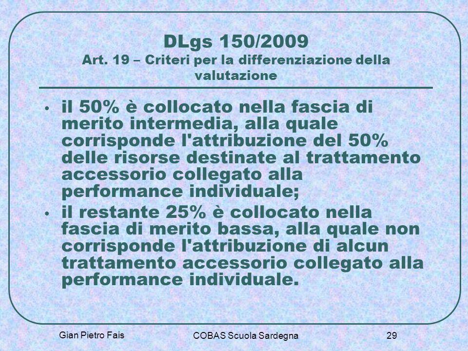 DLgs 150/2009 Art. 19 – Criteri per la differenziazione della valutazione
