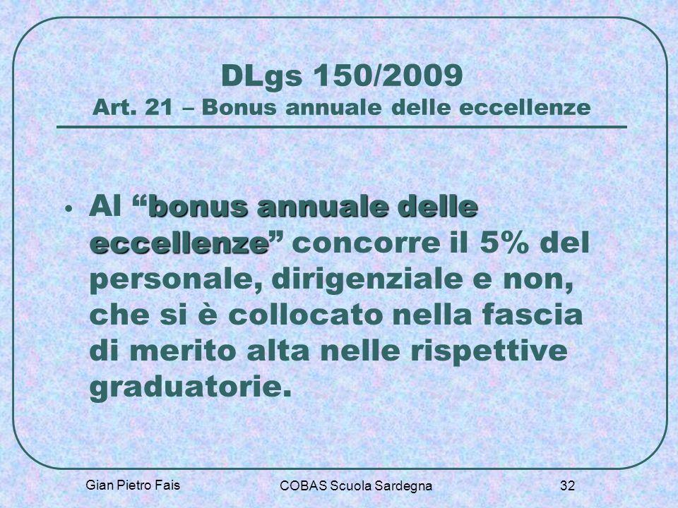 DLgs 150/2009 Art. 21 – Bonus annuale delle eccellenze