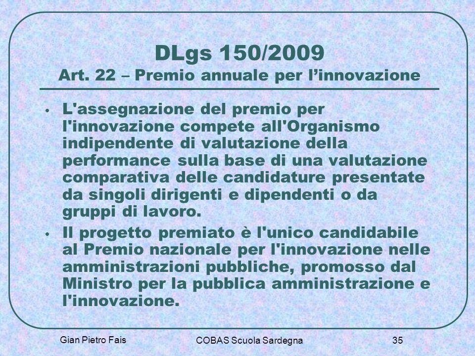 DLgs 150/2009 Art. 22 – Premio annuale per l'innovazione