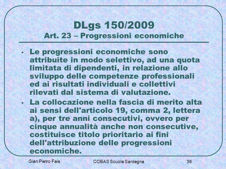 DLgs 150/2009 Art. 23 – Progressioni economiche