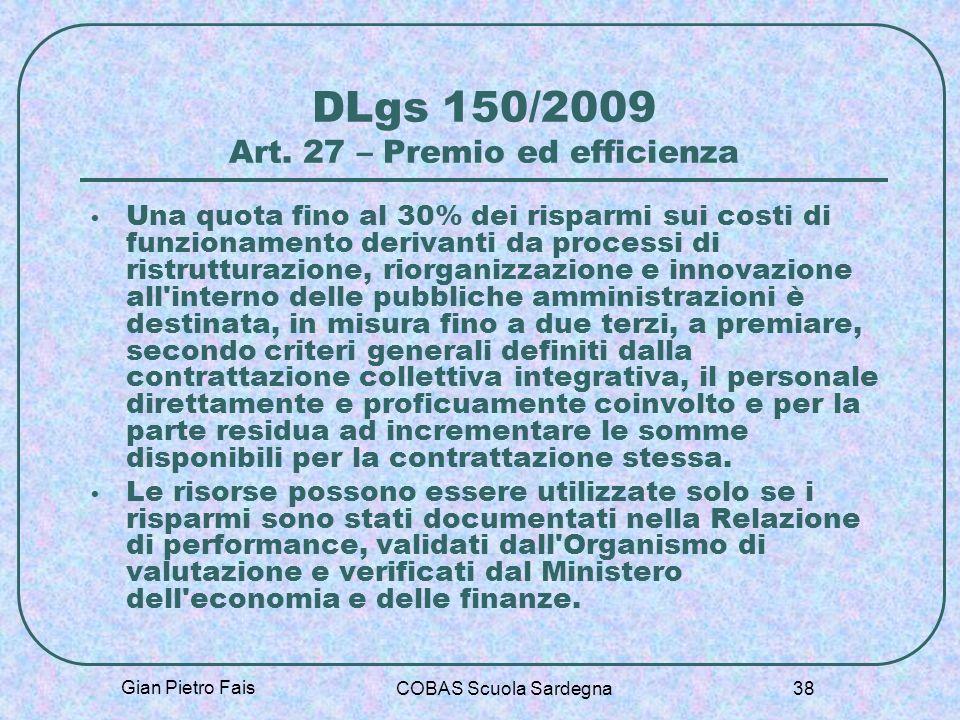 DLgs 150/2009 Art. 27 – Premio ed efficienza