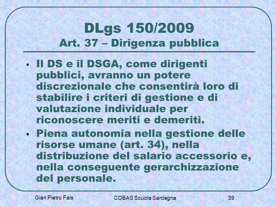 DLgs 150/2009 Art. 37 – Dirigenza pubblica