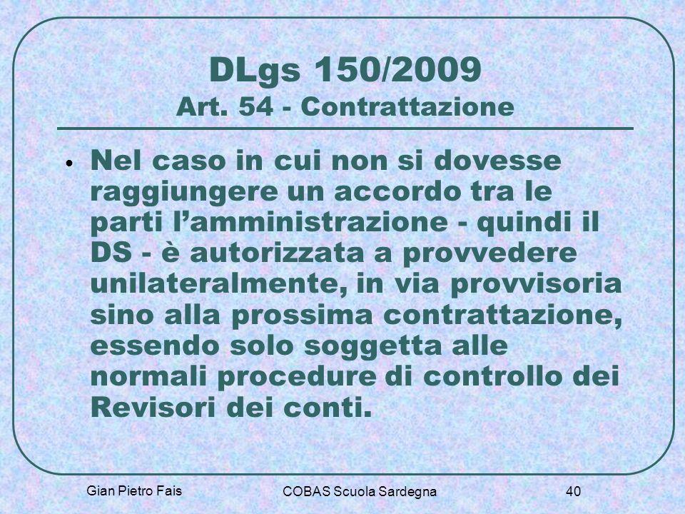 DLgs 150/2009 Art. 54 - Contrattazione
