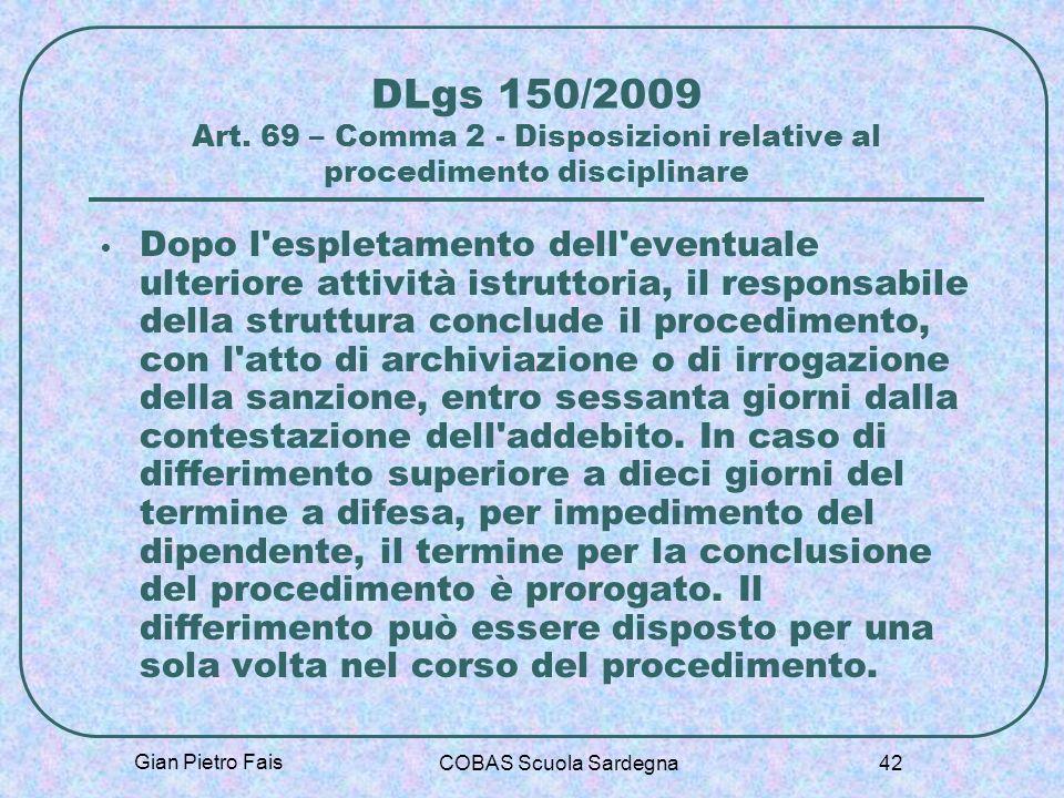 DLgs 150/2009 Art. 69 – Comma 2 - Disposizioni relative al procedimento disciplinare