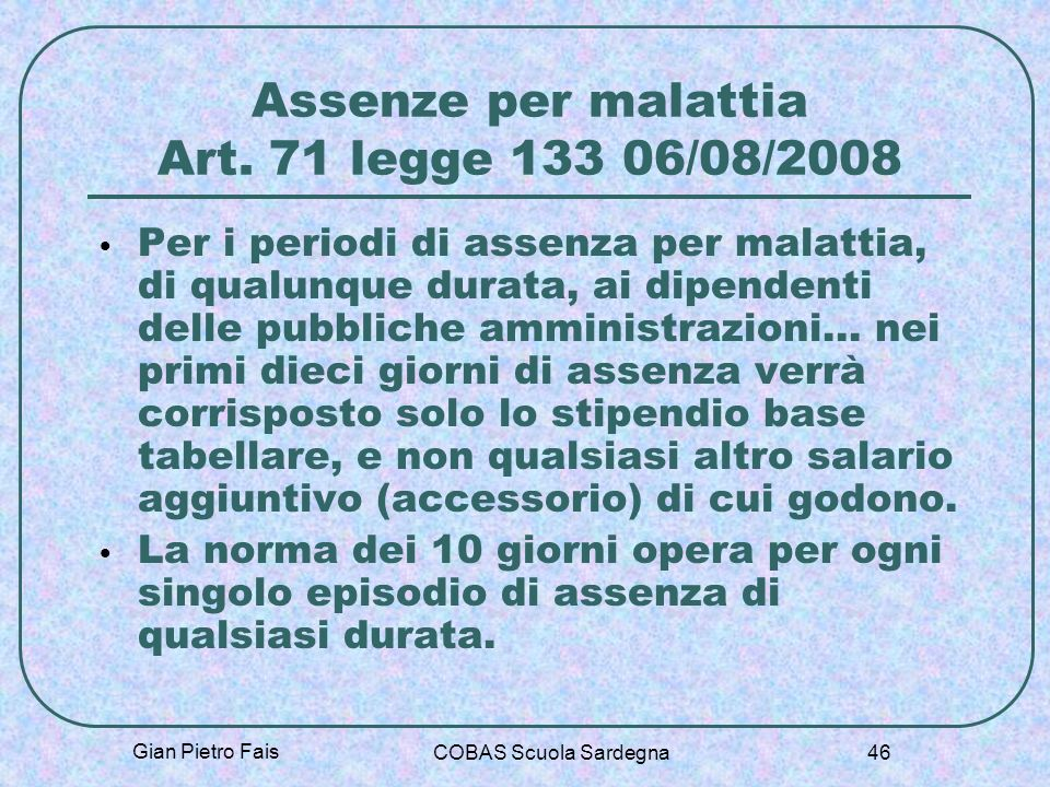 Assenze per malattia Art. 71 legge 133 06/08/2008