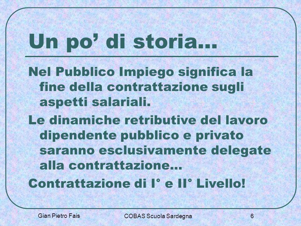 Un po' di storia… Nel Pubblico Impiego significa la fine della contrattazione sugli aspetti salariali.