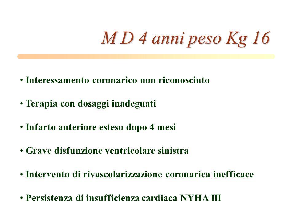 M D 4 anni peso Kg 16 Interessamento coronarico non riconosciuto