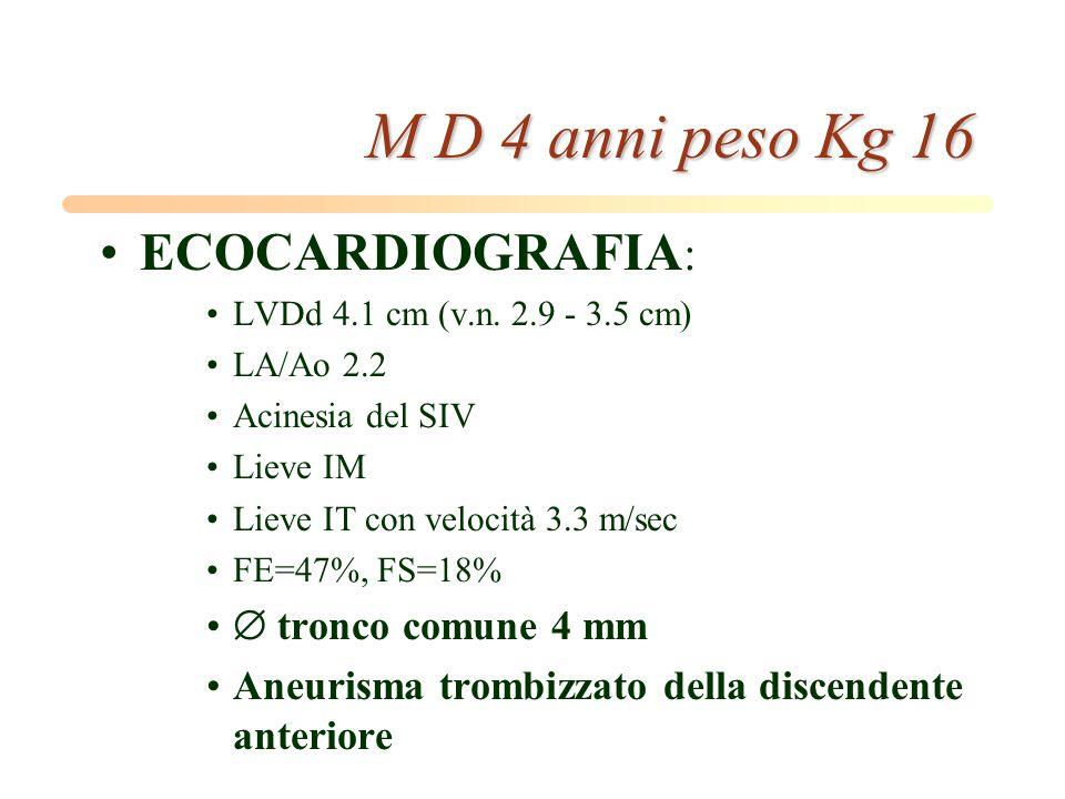 M D 4 anni peso Kg 16 ECOCARDIOGRAFIA:  tronco comune 4 mm
