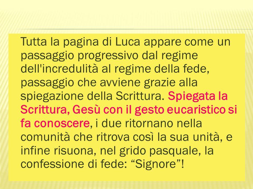 Tutta la pagina di Luca appare come un passaggio progressivo dal regime dell incredulità al regime della fede, passaggio che avviene grazie alla spiegazione della Scrittura.