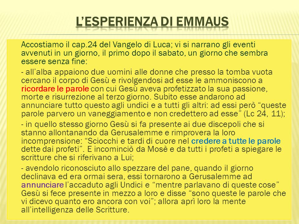 L'esperienza di Emmaus