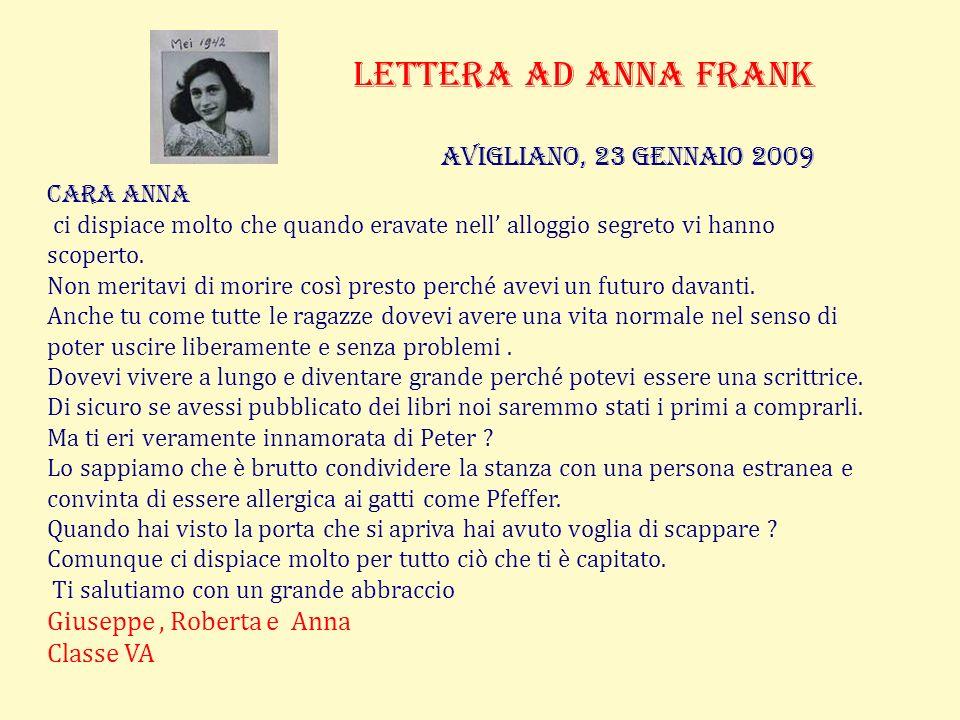 Lettera ad anna frank Avigliano, 23 gennaio 2009