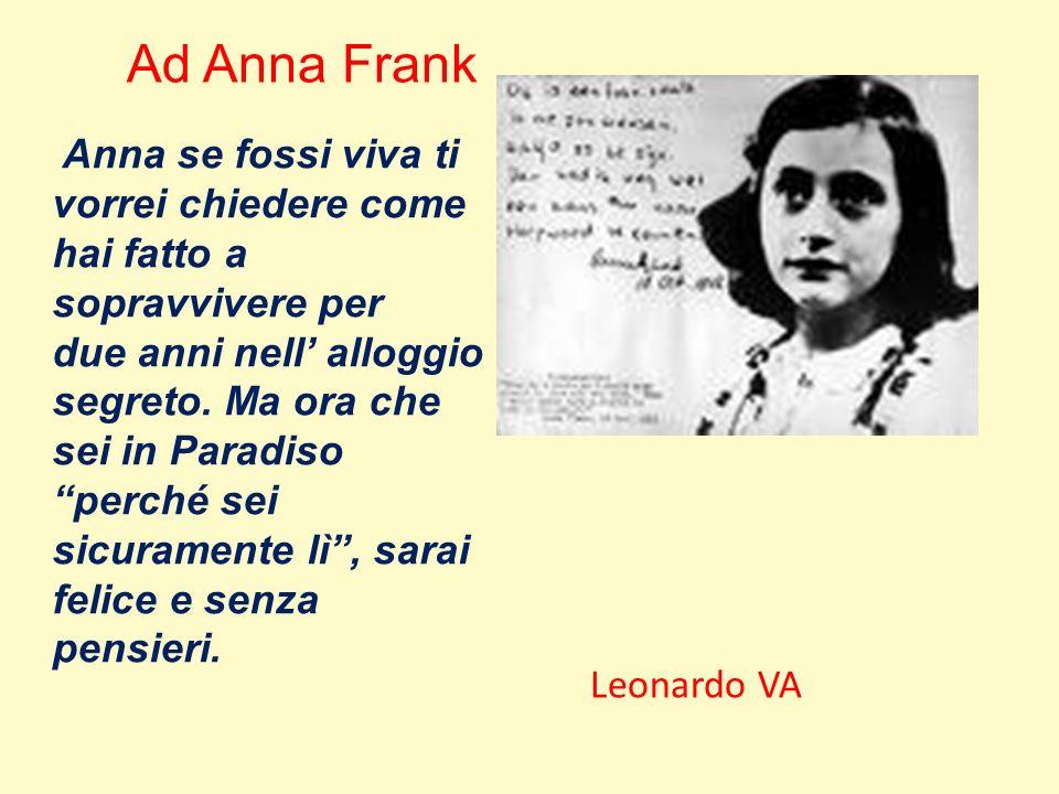 Ad Anna Frank Anna se fossi viva ti vorrei chiedere come hai fatto a sopravvivere per.