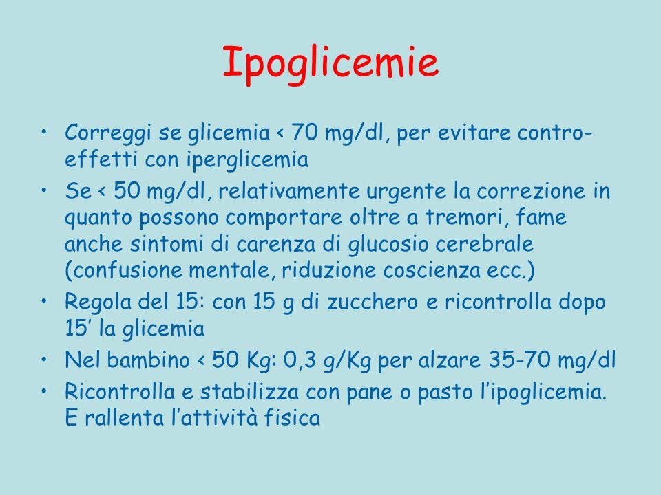 Ipoglicemie Correggi se glicemia < 70 mg/dl, per evitare contro-effetti con iperglicemia.
