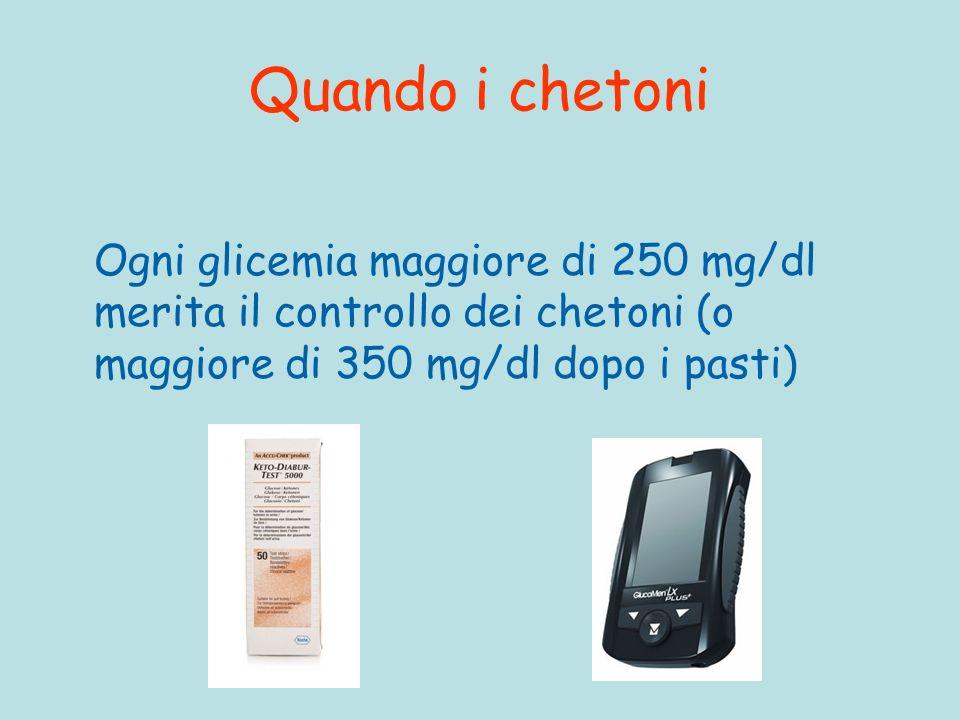 Quando i chetoni Ogni glicemia maggiore di 250 mg/dl merita il controllo dei chetoni (o maggiore di 350 mg/dl dopo i pasti)