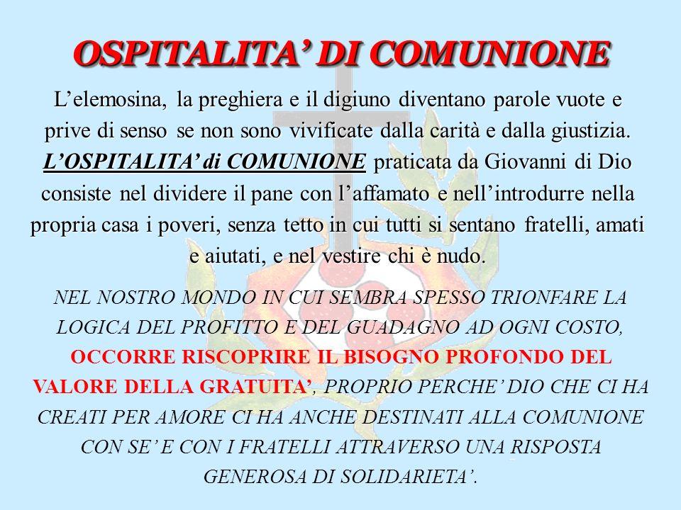 OSPITALITA' DI COMUNIONE