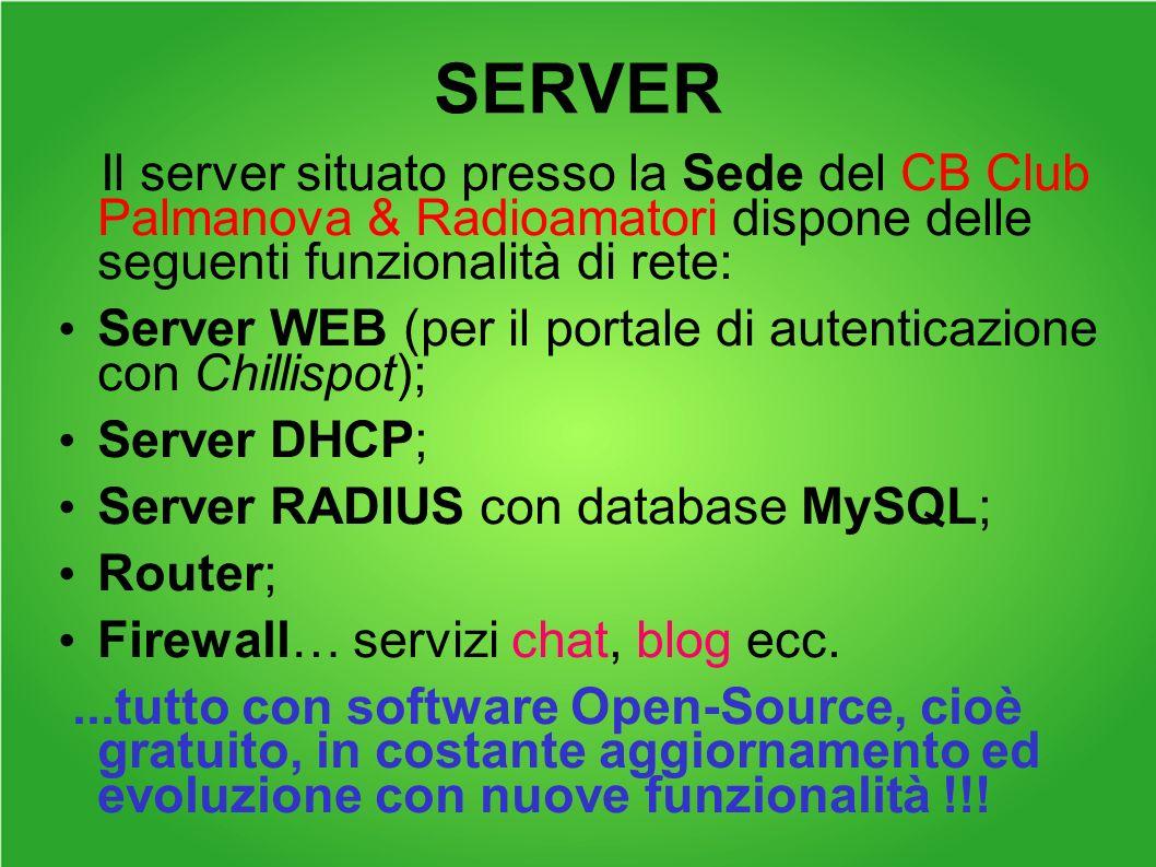 SERVER Il server situato presso la Sede del CB Club Palmanova & Radioamatori dispone delle seguenti funzionalità di rete: