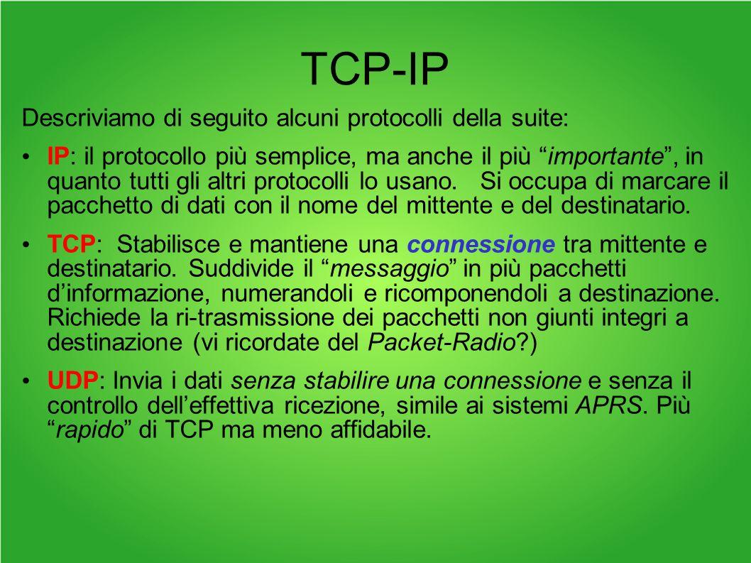 TCP-IP Descriviamo di seguito alcuni protocolli della suite: