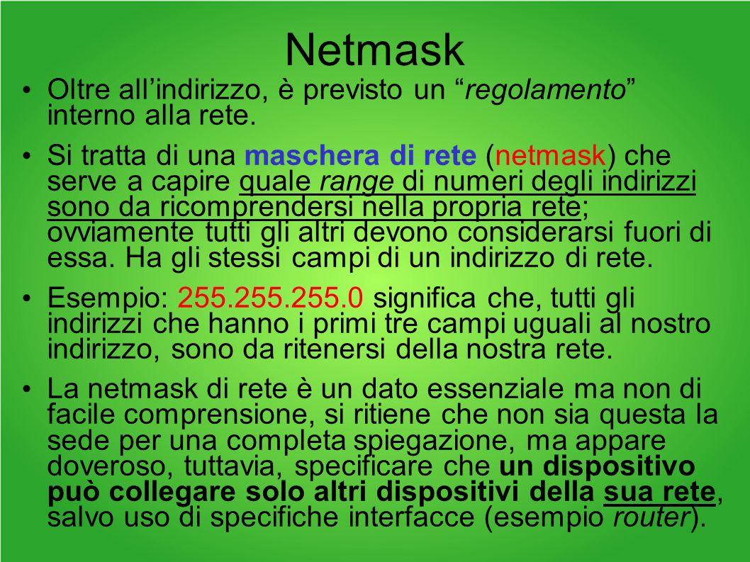 Netmask Oltre all'indirizzo, è previsto un regolamento interno alla rete.