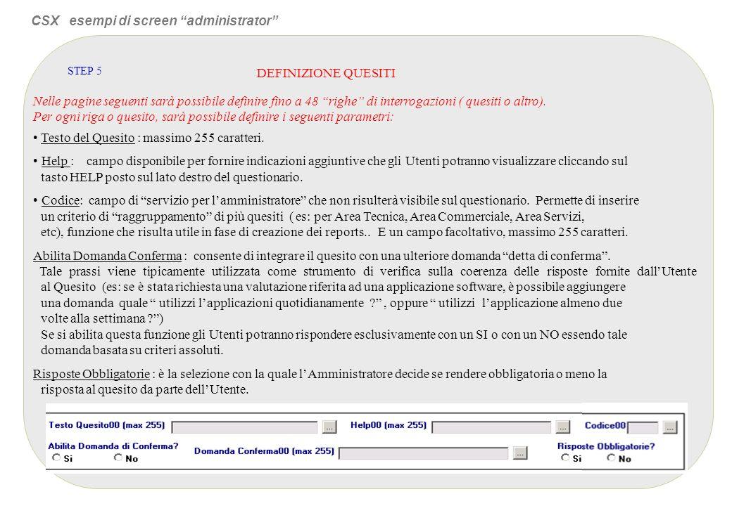 CSX esempi di screen administrator