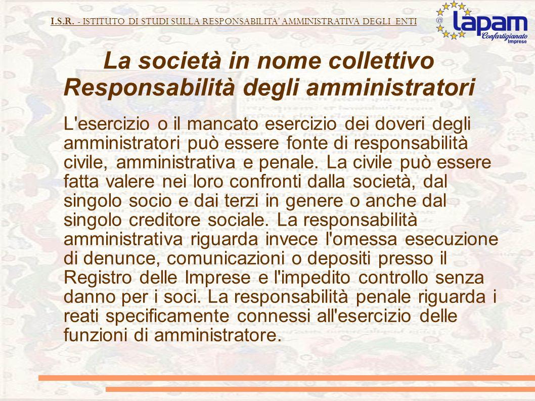 La società in nome collettivo Responsabilità degli amministratori
