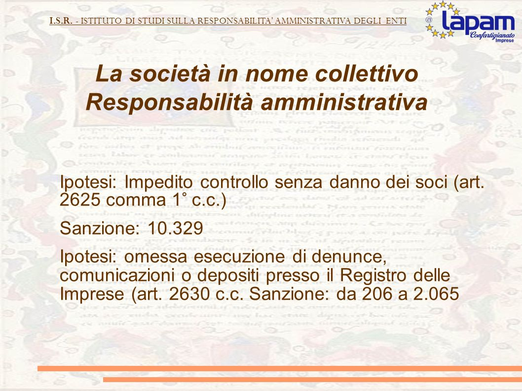 La società in nome collettivo Responsabilità amministrativa